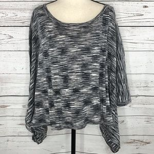 Lane Bryant Poncho Sweater Top Gray Marled Stretch